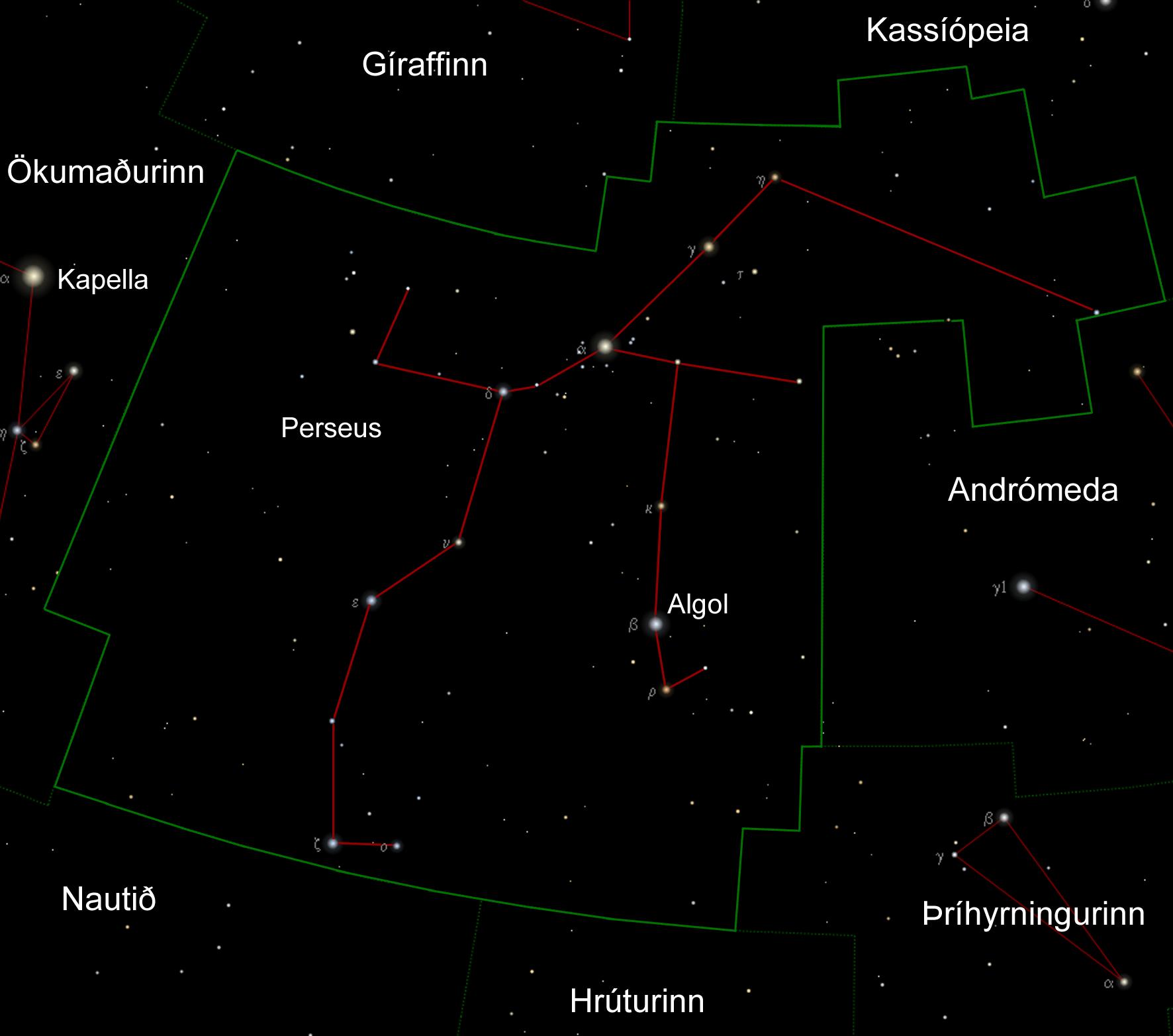 Kort af stjörnumerkinu Perseusi og hvar stjörnuna Algol er að finna.